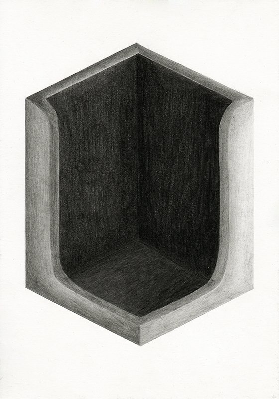 A ROOM OF ONE'S OWN, 2020, 21 x 14.8 cm, pencil on paper
