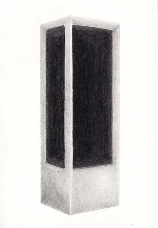 SHOWCASE #2, 2020, 21 x 14.8 cm, pencil on paper