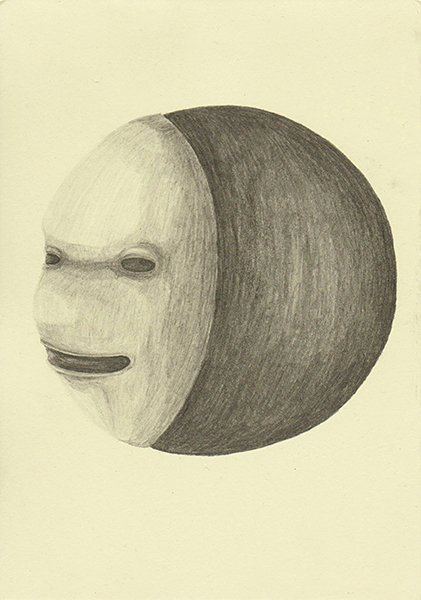 MOON FACE, 2016, 21 x 14.8 cm, pencil on paper